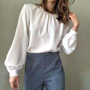 Vintage white bell sleeve blouse